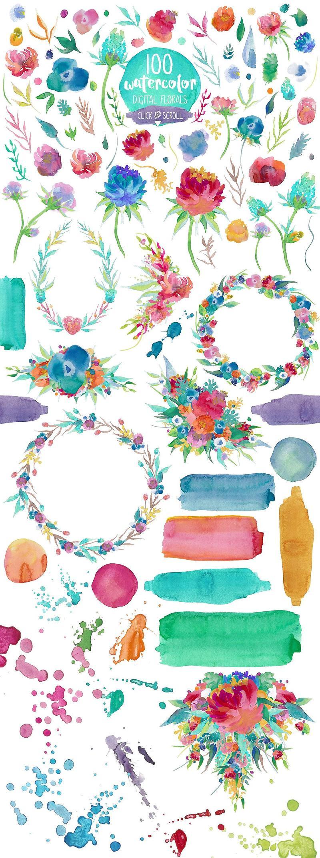 【第23期】3200款水彩图形图案笔刷素材合集打包下载